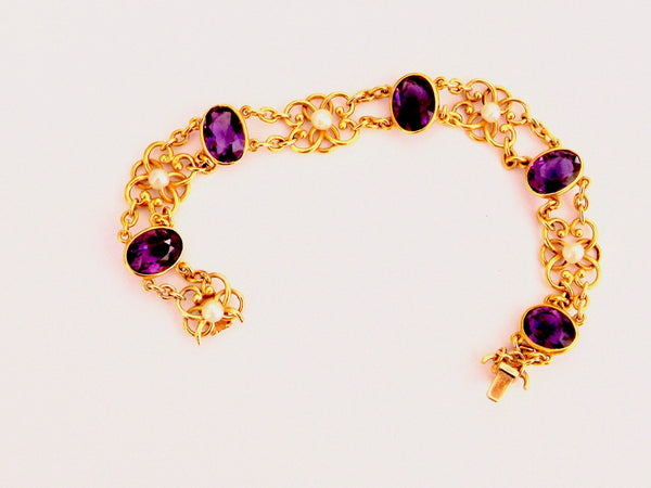 An Edwardian amethyst and pearl bracelet