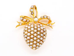 A fine Victorian heart shaped pearl pendant