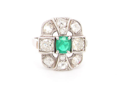 An exceptional French emerald and diamond cluster ring