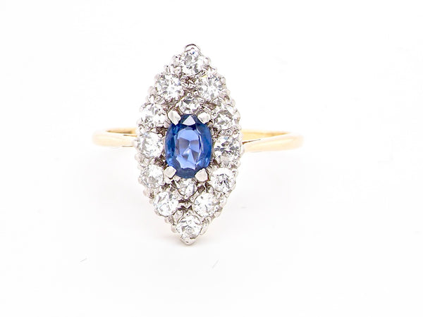 An Art Deco sapphire and diamond marquise cluster ring