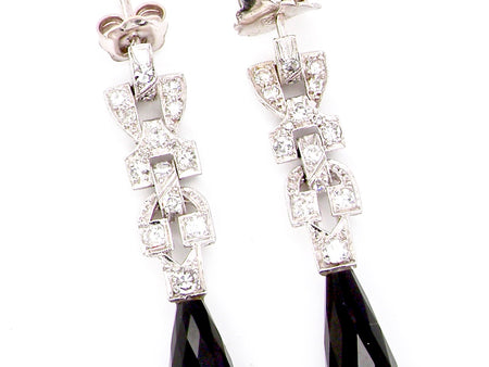 A pair of Art Deco diamond and onyx earrings