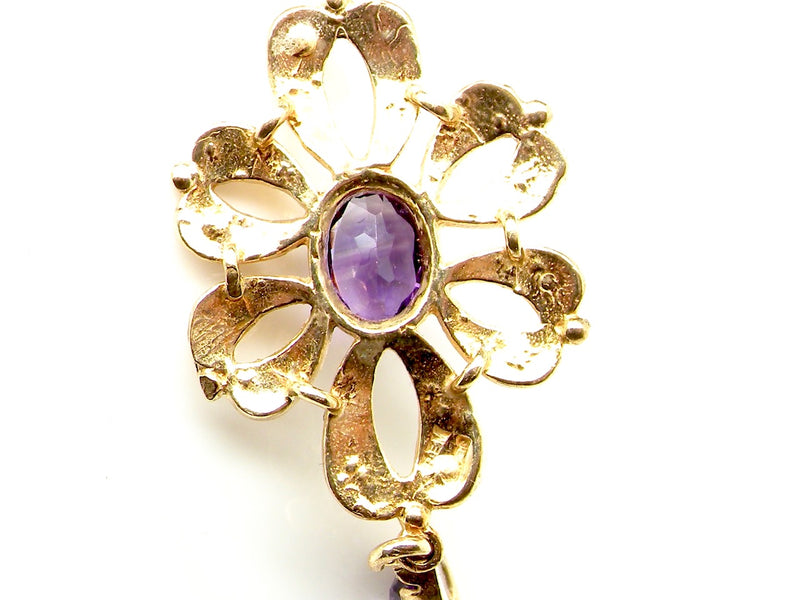 A 9 carat gold amethyst and pearl pendant