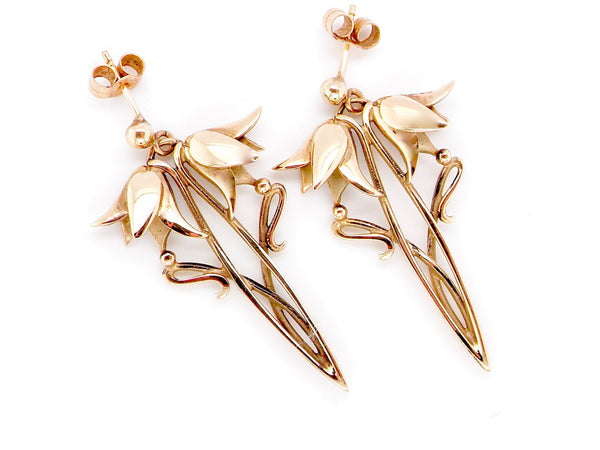 A pair of floral 9 carat gold earrings