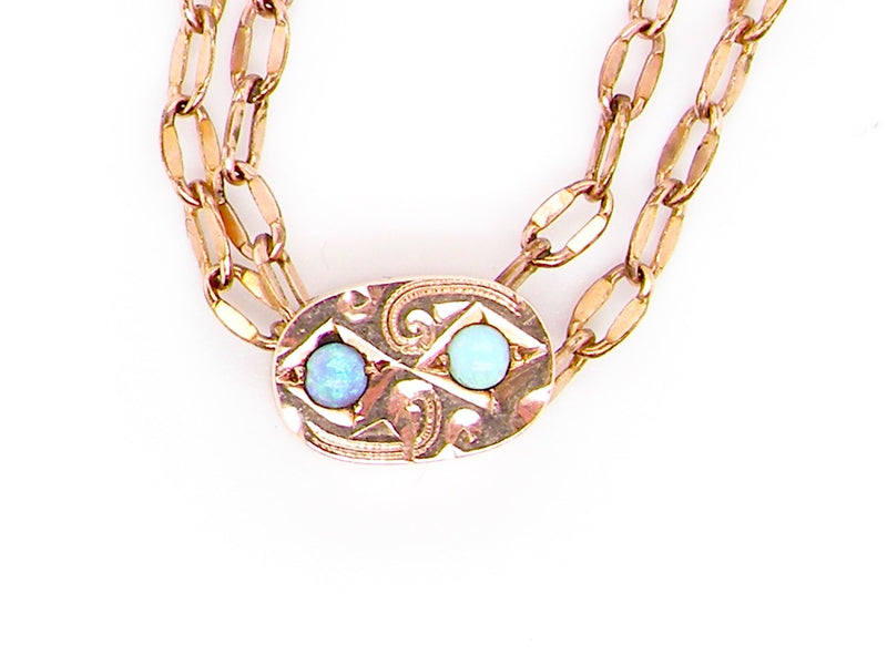 A vintage  necklace with an opal set slider