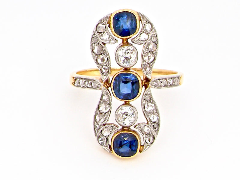 A fabulous Belle Époque period sapphire and diamond ring