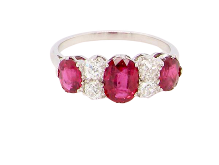A fine vintage ruby and diamond platinum* ring