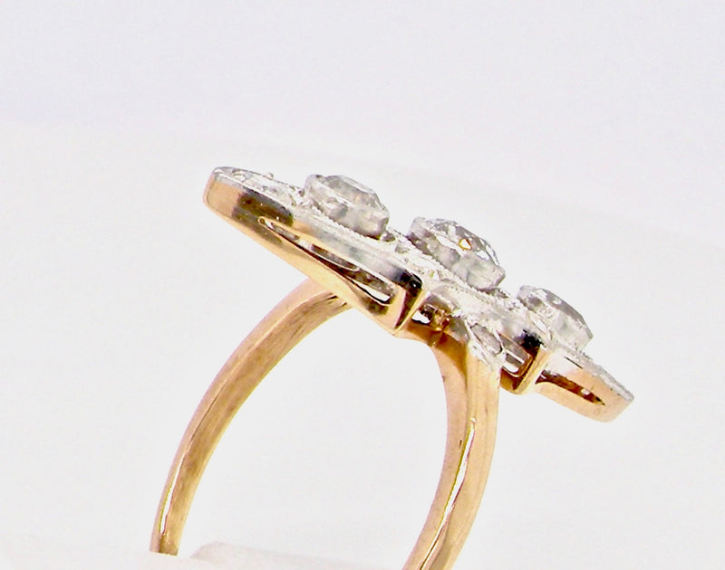 An Edwardian marquise cluster diamond ring