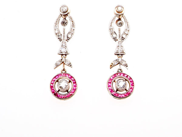 A fine pair of Edwardian period ruby and diamond drop earrings
