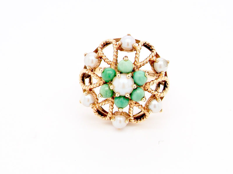 An unusual turquoise and pearl dress ring