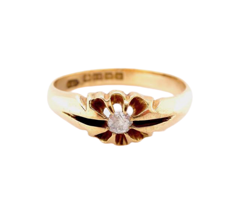 A 18 carat gold single stone gypsy style diamond  ring