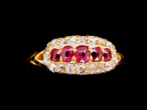 A vintage ruby and diamond cluster ring