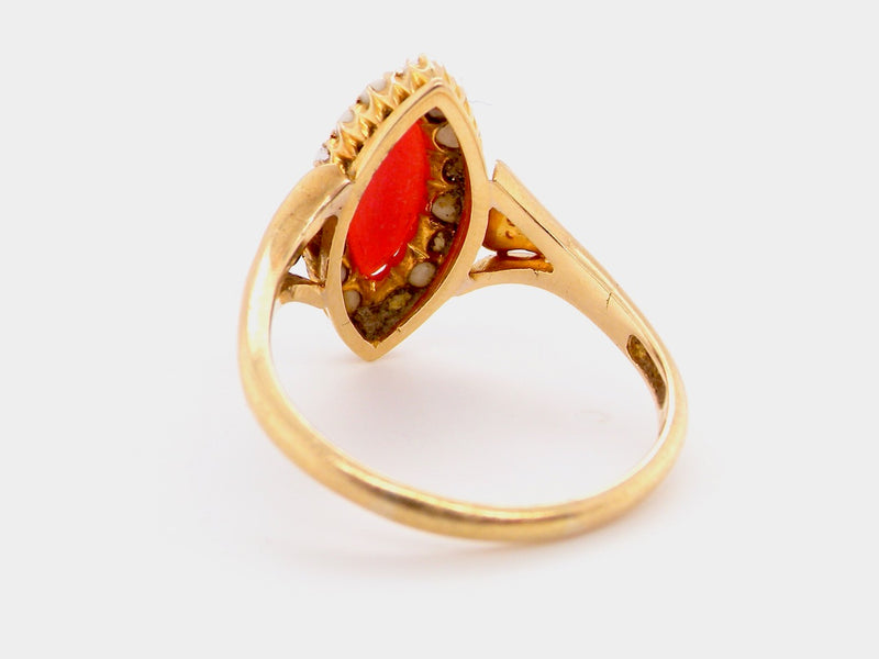 An 18 carat gold Victorian coral and pearl dress ring