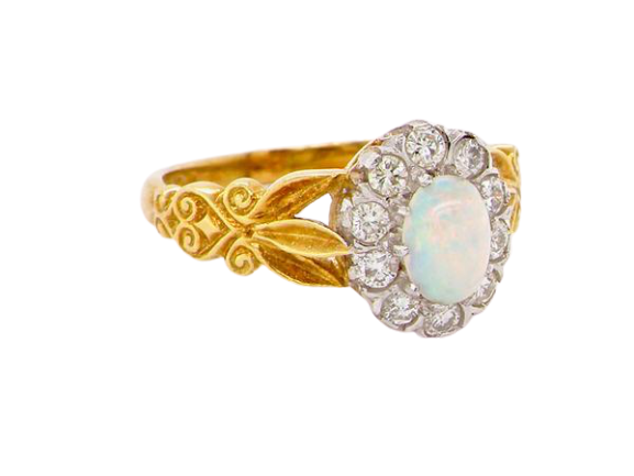 A fine Edwardian opal and diamond cluster ring
