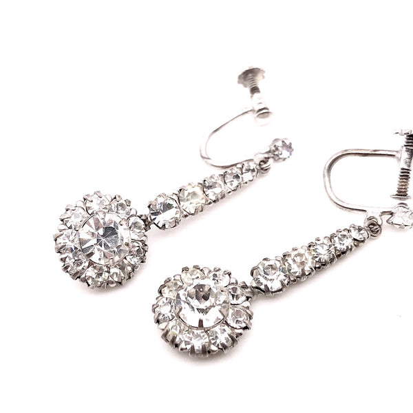 A pair of vintage diamante drop earrings