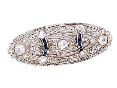 An Edwardian sapphire and diamond brooch