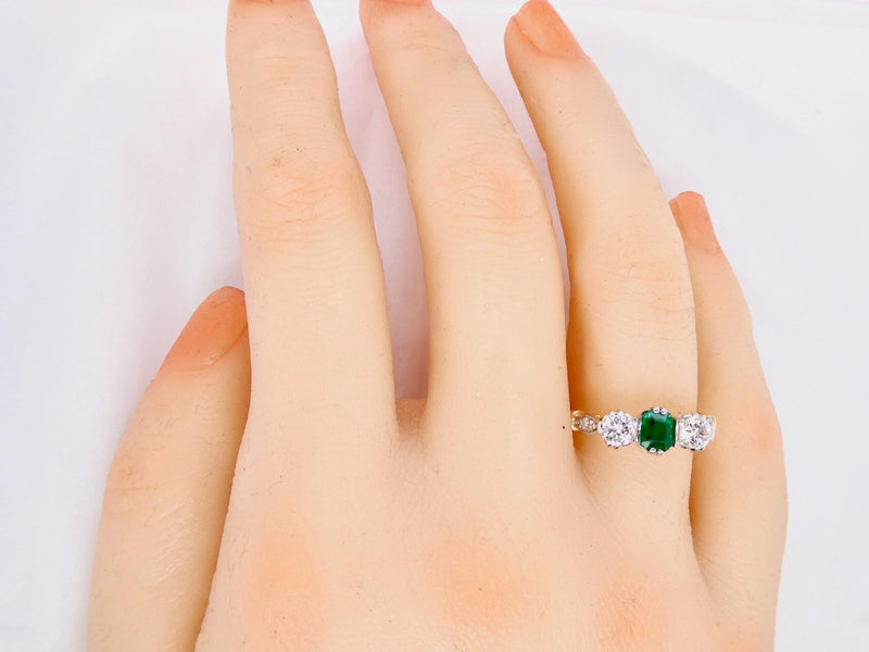 A classic three stone emerald and diamond ring-RESERVED