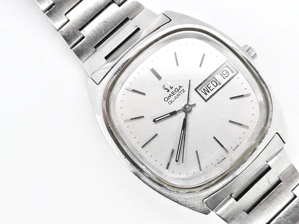 A man's steel Omega  wrist watch