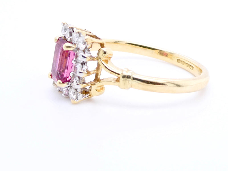 A pink tourmaline and diamond cluster ring