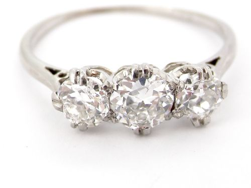A traditional three stone diamond ring 1.6 carats