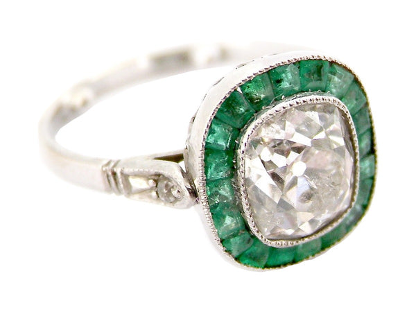 A fine Art Deco emerald and diamond ring