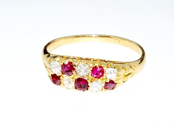 A Victorian 18 carat gold ruby and diamond ring