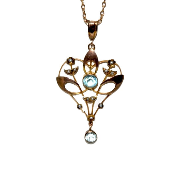 A Victorian blue zircon and seed pearl pendant