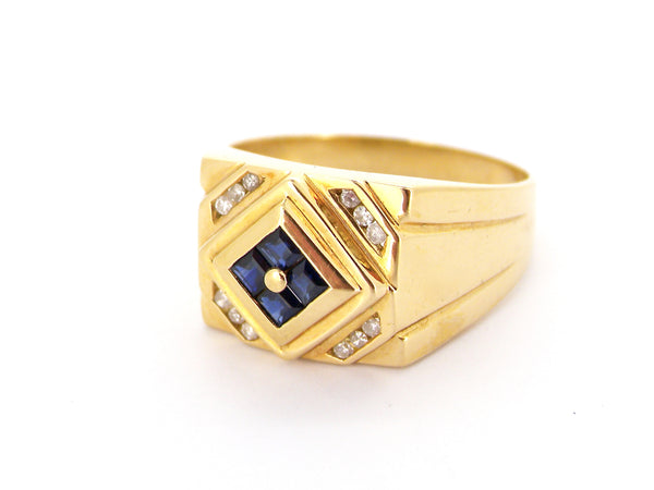 A man's 18 carat gold sapphire and diamond signet ring