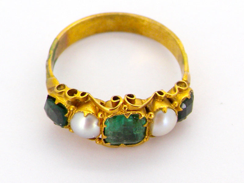 A Victorian emerald and pearl dress ring *RESERVED*