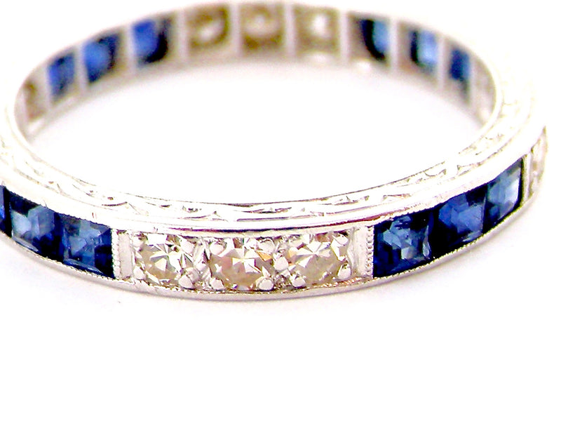 A platinum sapphire and diamond eternity ring