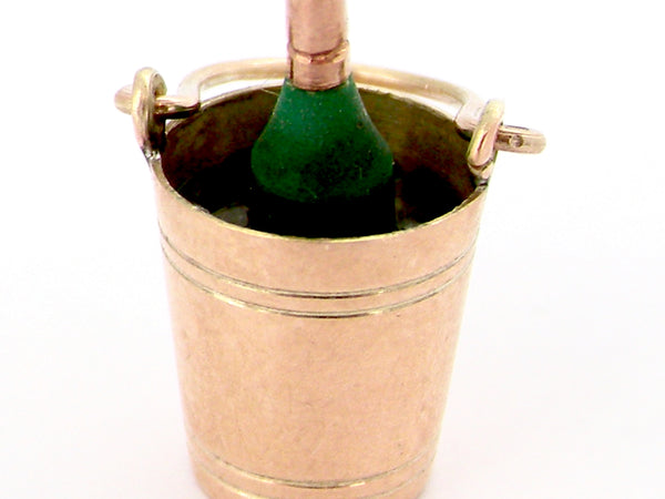 A gold champagne bucket charm