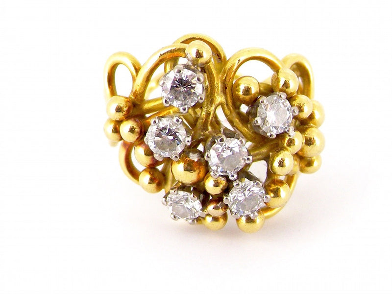 A fabulous 18 carat gold diamond Designer style ring