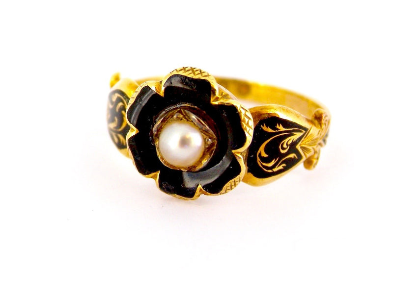 An antique Victorian black enamel and pearl ring
