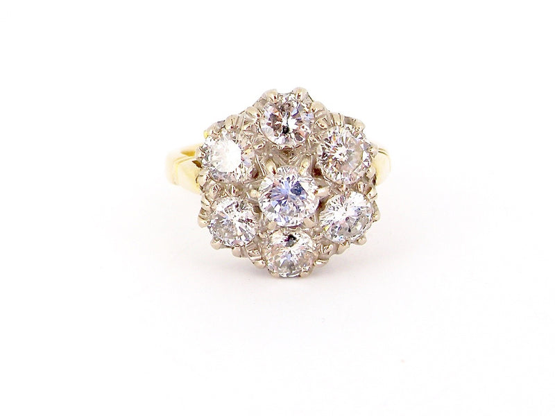 A large 2.5 carat diamond cluster ring