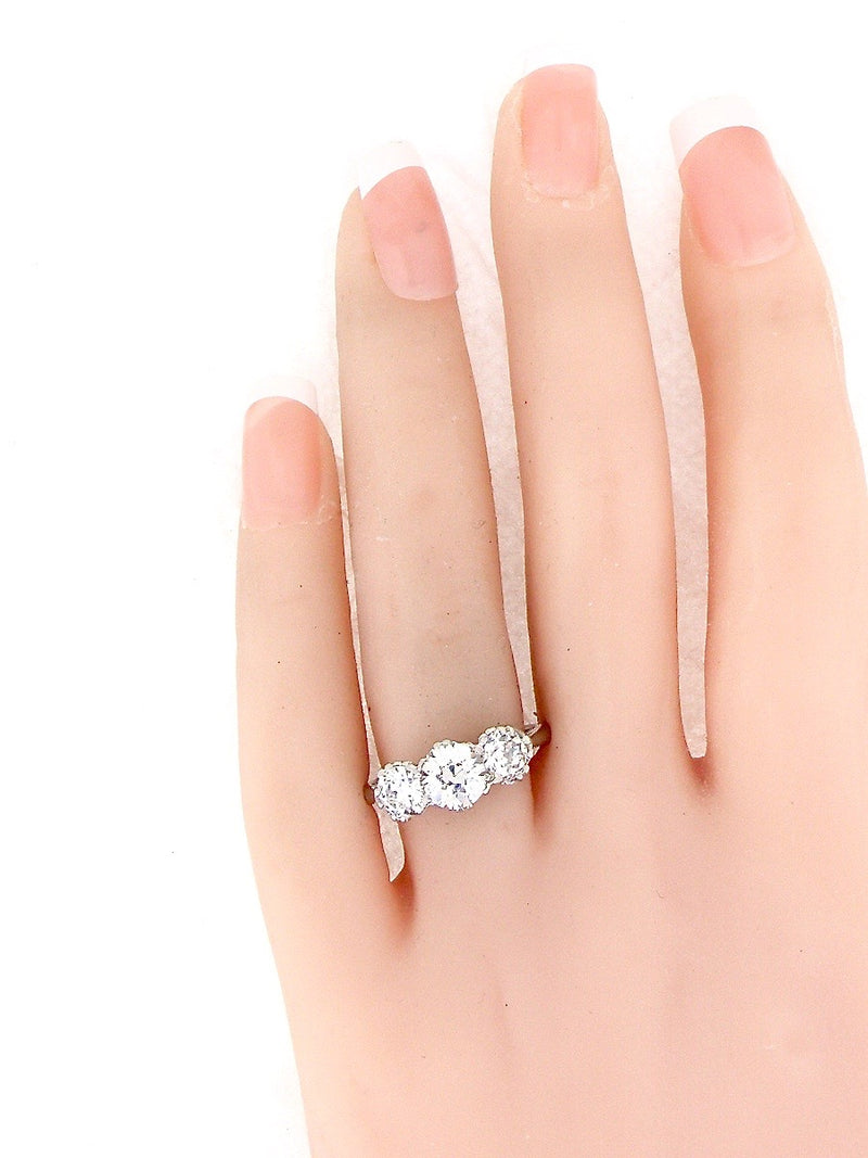 A fine 2.25 carat three stone diamond ring