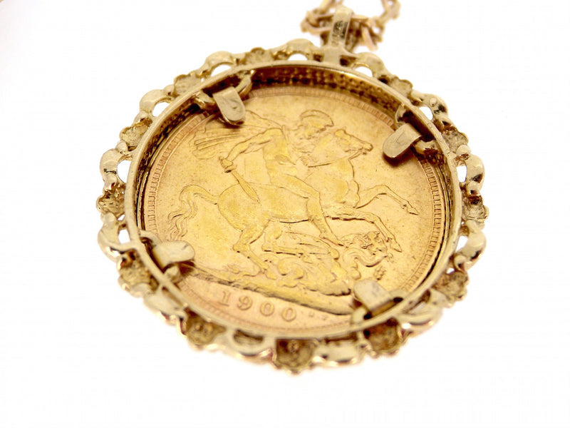 A 1900 full sovereign coin in a pendant mount