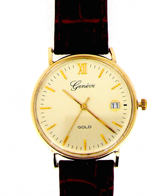 A man's 9 carat gold Genéve wrist watch