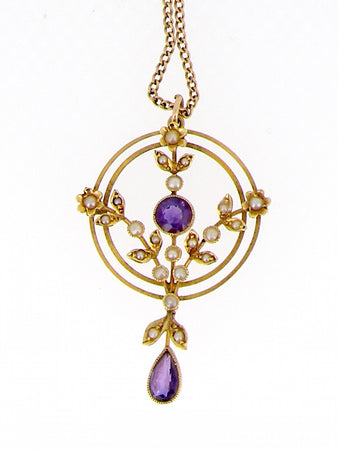 An Edwardian amethyst and pearl pendant