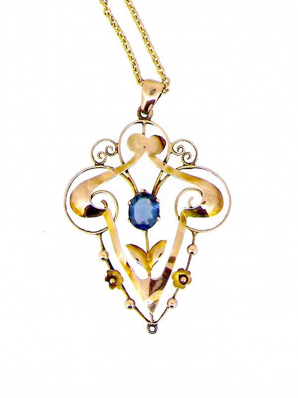 A vintage sapphire openwork pendant