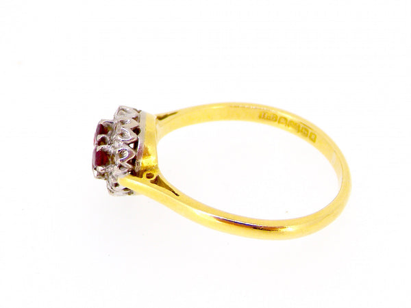 A mid 1960s ruby and diamond cluster ring