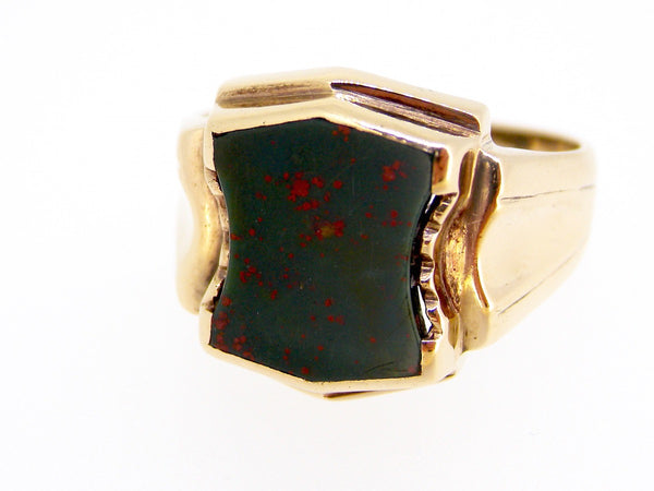 A man's shield shape bloodstone signet ring