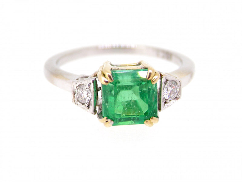 A fine emerald and diamond three stone ring-NOW REDUCED!