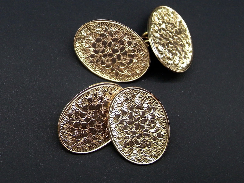 A fine pair of hand engraved gold cufflinks