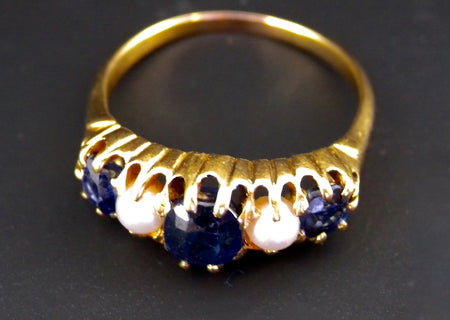 A victorian pearl and sapphire ring