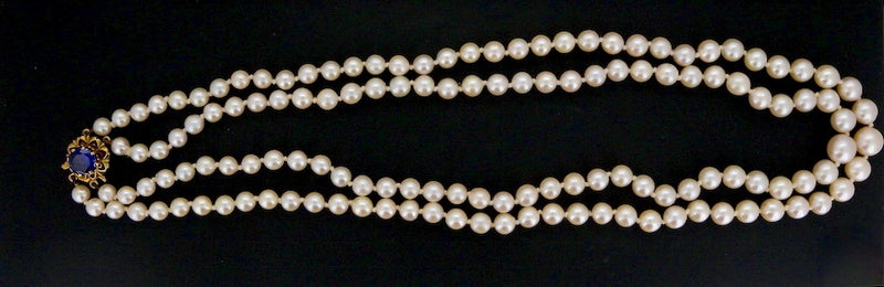 A double row of cultured pearls