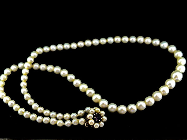 A single row of cultured pearls by Mikimoto