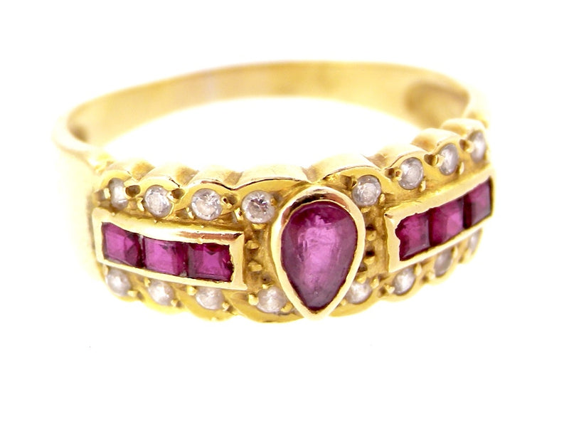 A ruby and diamond fancy style ring