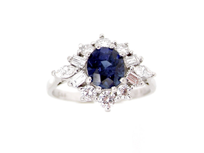 A platinum sapphire and diamond cluster ring *RESERVED*