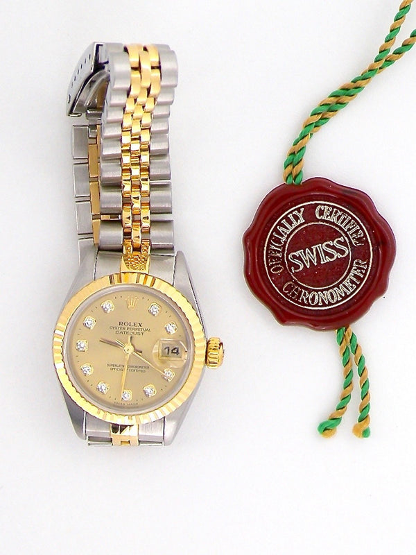 A woman's Rolex diamond dot dial wrist watch