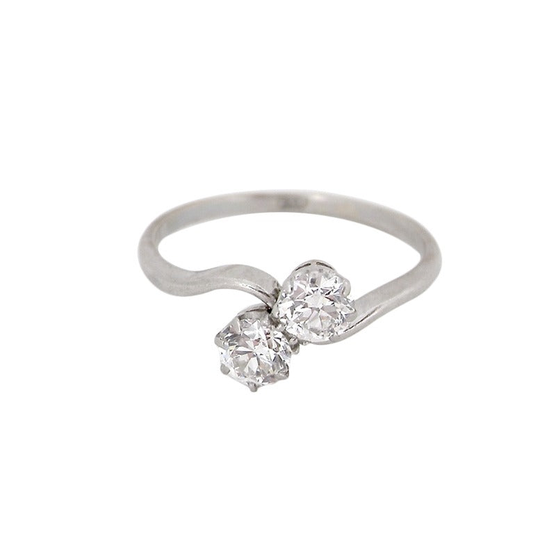 A fine platinum two stone diamond crossover ring-now REDUCED!