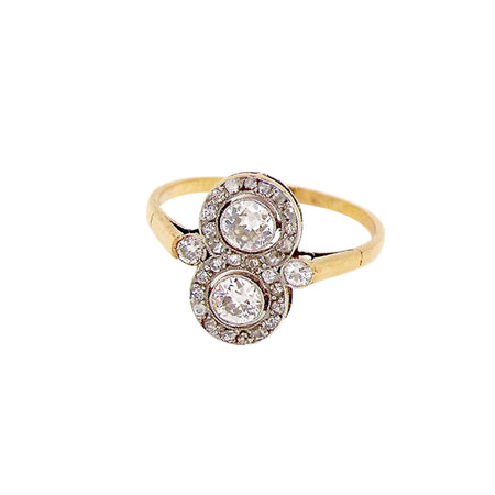 A fine Edwardian double cluster gem ring
